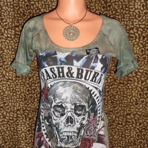 CRASH & BURN Green Tie Dye Rhinestone Skull Tee